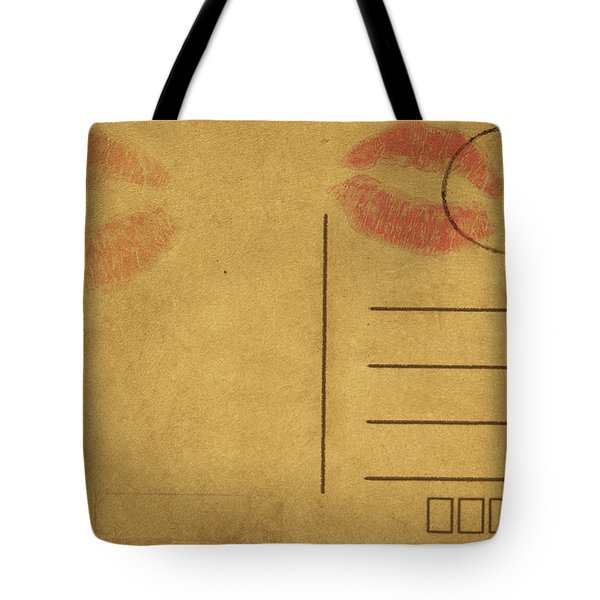 Kiss Lips On Postcard Tote Bag by Setsiri Silapasuwanchai