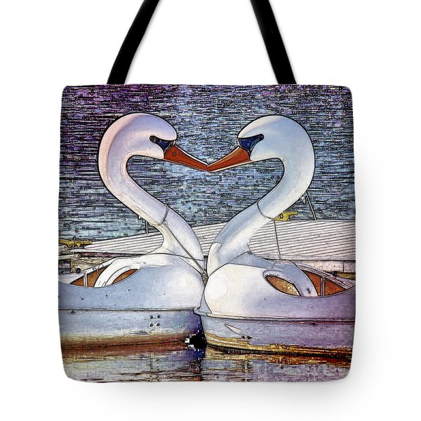 Tote Bag featuring the photograph Kissing Swans by Alice Gipson