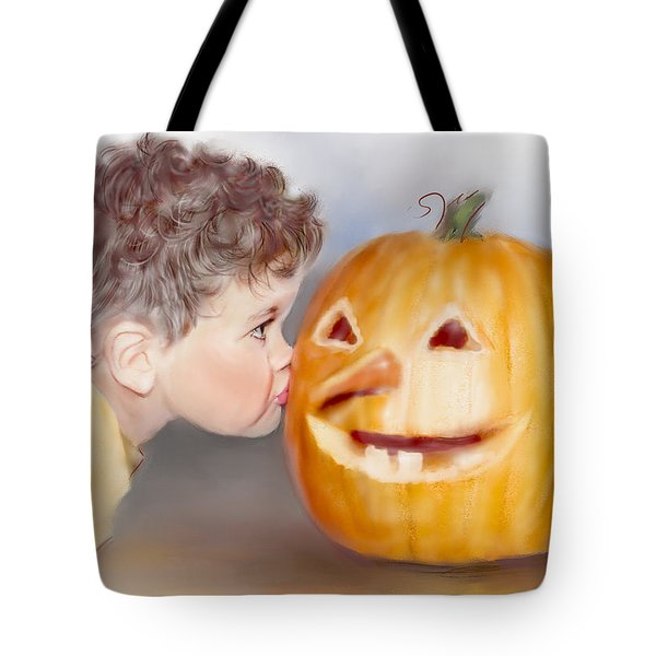 Tote Bag featuring the painting Kissy Face by Bonnie Willis