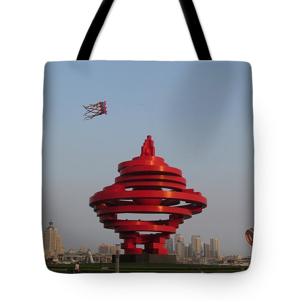 kite flying in Qingdao Tote Bag