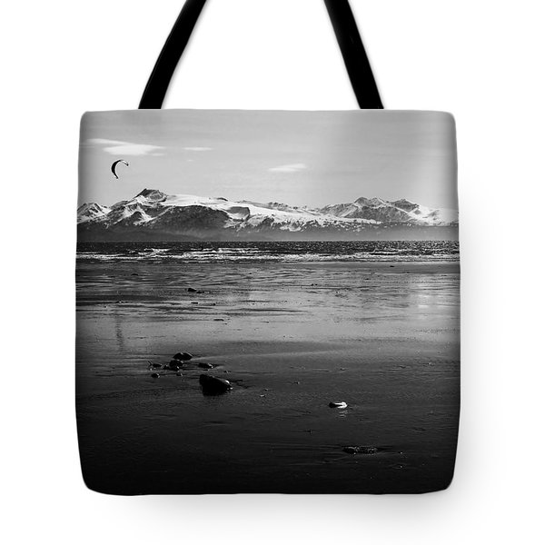 Kite Surfer On An Alaskan Beach Tote Bag