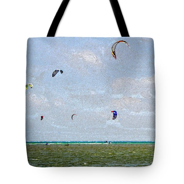 Kites Over The Bay Tote Bag by David Lee Thompson