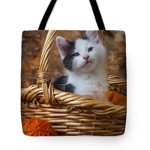Kitten In Basket With Orange Yarn Tote Bag by Garry Gay