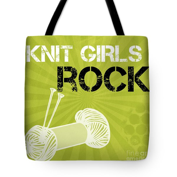 Knit Girls Rock Tote Bag by Linda Woods