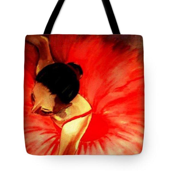 La Ballerine Rouge Dans Le Theatre Tote Bag by Rusty Woodward Gladdish