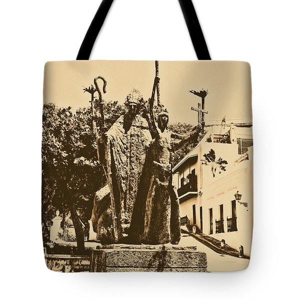 La Rogativa Sculpture Old San Juan Puerto Rico Rustic Tote Bag by Shawn O'Brien
