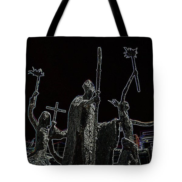 La Rogativa Statue Old San Juan Puerto Rico Glowing Edges Tote Bag by Shawn O'Brien