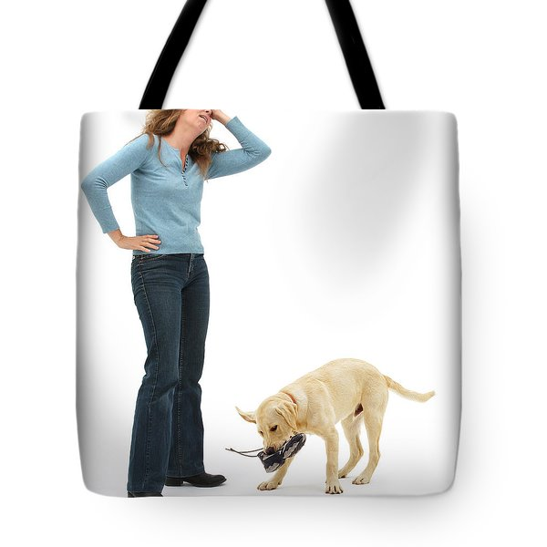 Labrador Golden Retriever Pup Chewing Tote Bag by Mark Taylor