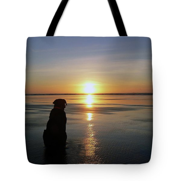 Labrador Watching The Sun Set Tote Bag