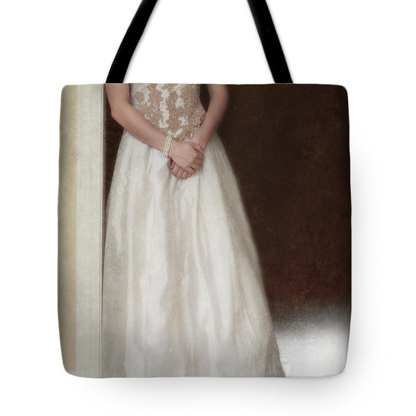 Lacy In Ecru Lace Gown Tote Bag by Jill Battaglia