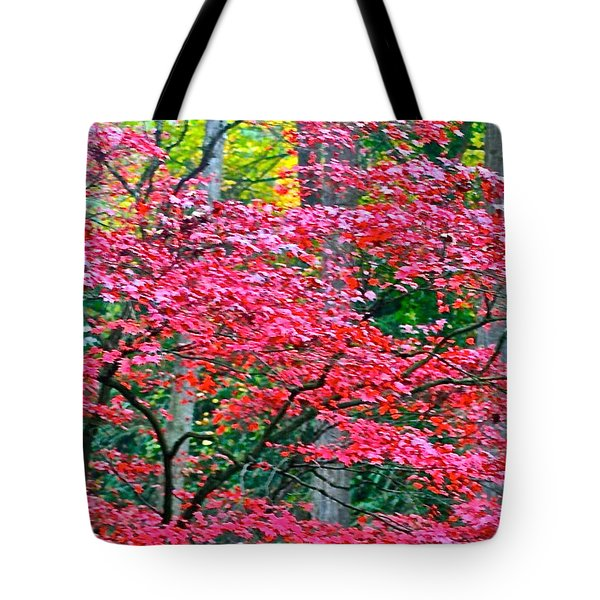 Lacy Red Maple Trees Tote Bag