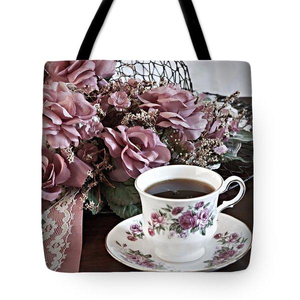 Ladies Tea Time Tote Bag by Sherry Hallemeier