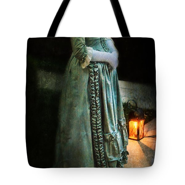 Lady By Lantern Light Tote Bag by Jill Battaglia