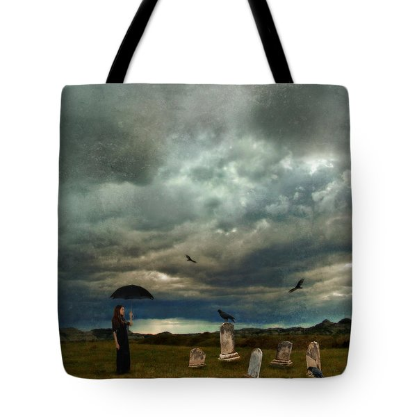 Lady In Graveyard Tote Bag by Jill Battaglia
