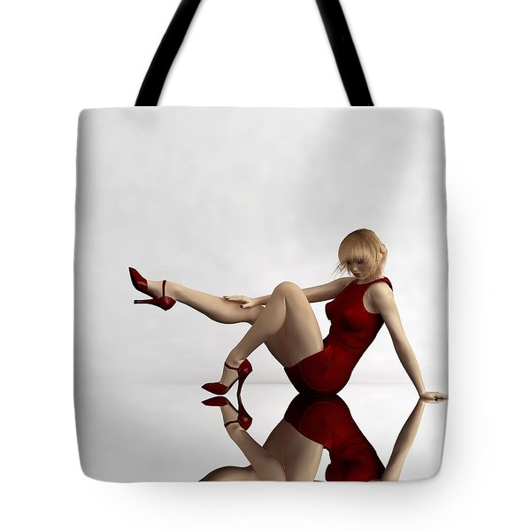 Lady In Red... Tote Bag by Tim Fillingim