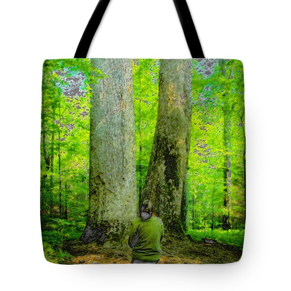 Lady In The Woods Tote Bag by David Lee Thompson