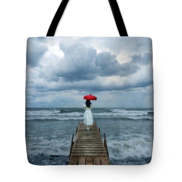 Lady On Dock In Storm Tote Bag by Jill Battaglia