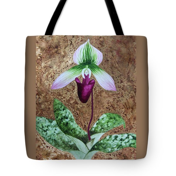 Tote Bag featuring the mixed media Lady Slipper Orchid With Gold Leaf Background by Kerri Ligatich