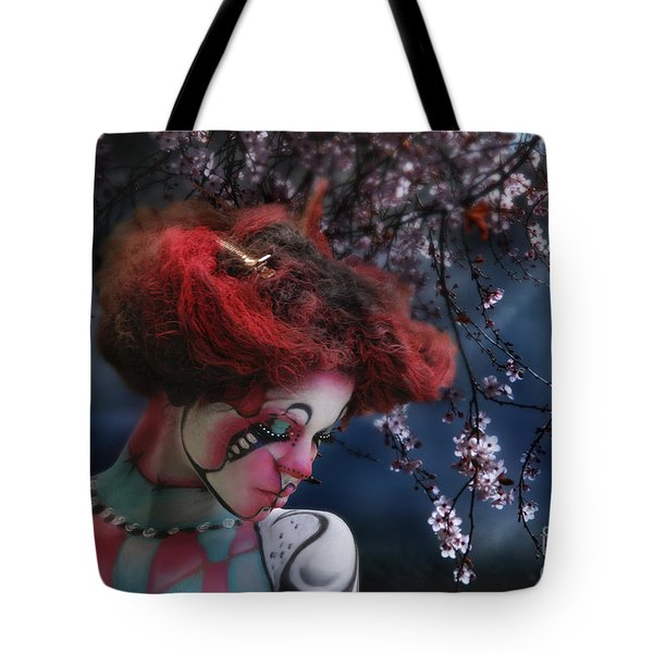 Tote Bag featuring the digital art Lady Spring Silence by Rosa Cobos