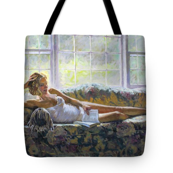 Lady With A Book Tote Bag