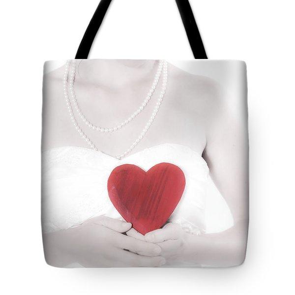 Lady With A Heart Tote Bag by Joana Kruse