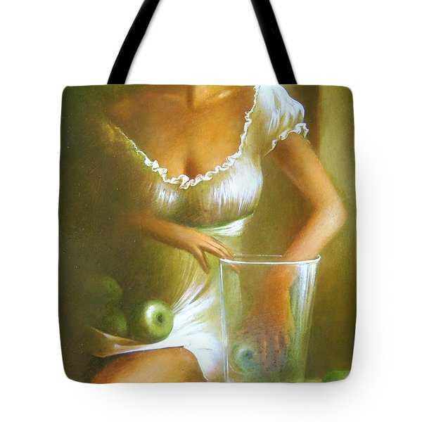 Lady With Green Apples Tote Bag