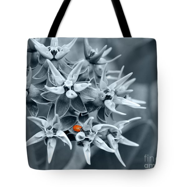 Ladybug Flower Tote Bag by Rebecca Margraf