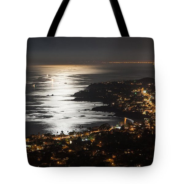 Tote Bag featuring the photograph Laguna Beach Moonlight by Sonny Marcyan