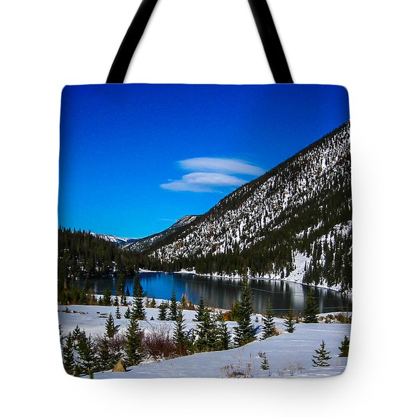 Tote Bag featuring the photograph Lake In The Mountains by Shannon Harrington