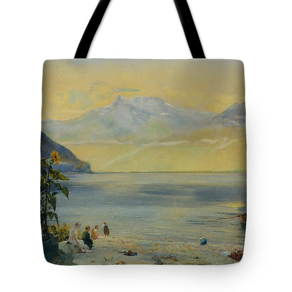 Lake Leman With The Dents Du Midi In The Distance Tote Bag by John William Inchbold