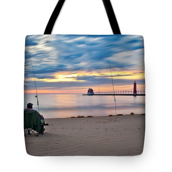Lake Michigan Fishing Tote Bag