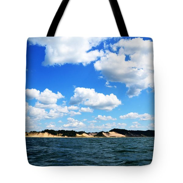 Lake Michigan Shore With Clouds Tote Bag by Michelle Calkins