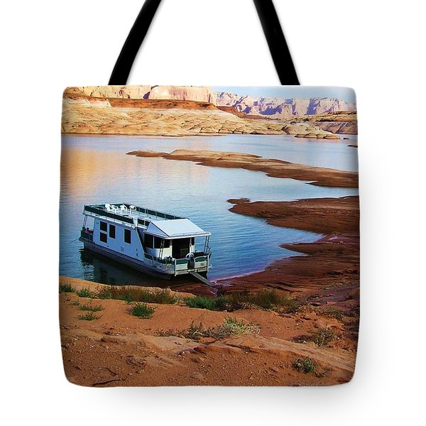 Lake Powell Houseboat Tote Bag by Michele Penner