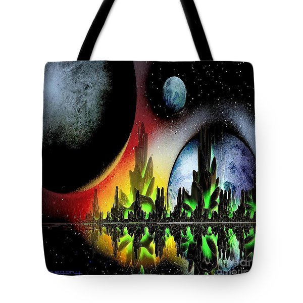 Tote Bag featuring the mixed media Lake Venus by Greg Moores