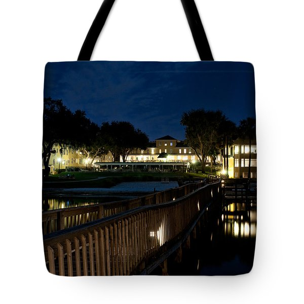 Lakeside Inn At Night Tote Bag by Christopher Holmes