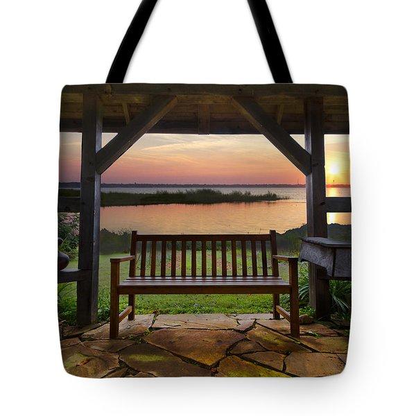 Lakeside Serenity Tote Bag by Debra and Dave Vanderlaan