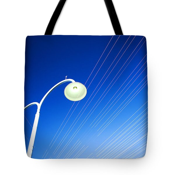 Tote Bag featuring the photograph Lamp Post And Cables by Yew Kwang