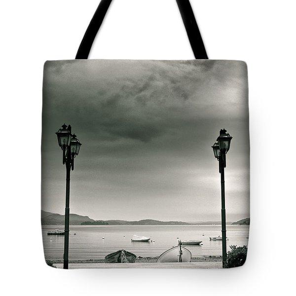 Lamps On Lake Tote Bag by Silvia Ganora