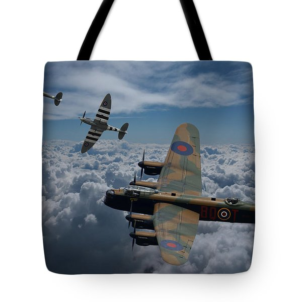 Lancaster Bomber And Spitfires Tote Bag