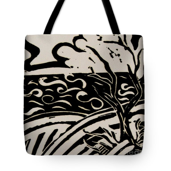 Land Sea Sky In Black And White Tote Bag by Caroline Street