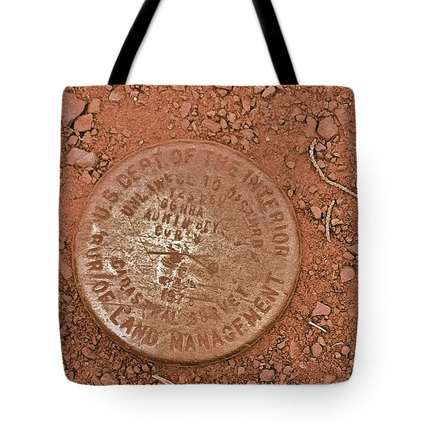 Tote Bag featuring the photograph Land Survey Marker by Bill Owen