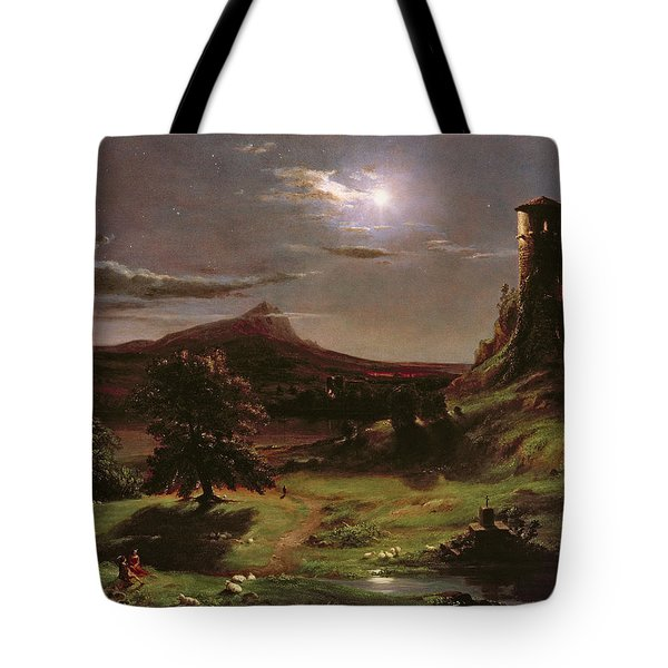 Landscape - Moonlight Tote Bag by Thomas Cole