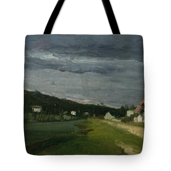 Landscape With Stormy Sky Tote Bag by Camille Pissarro