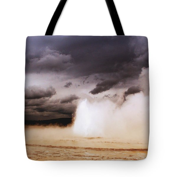 Landscapes Of Yellowstone - Great Fountain Geyser Tote Bag by Ellen Heaverlo