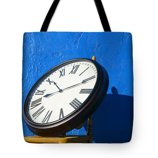 Large Clock On Yellow Chair Tote Bag by Garry Gay