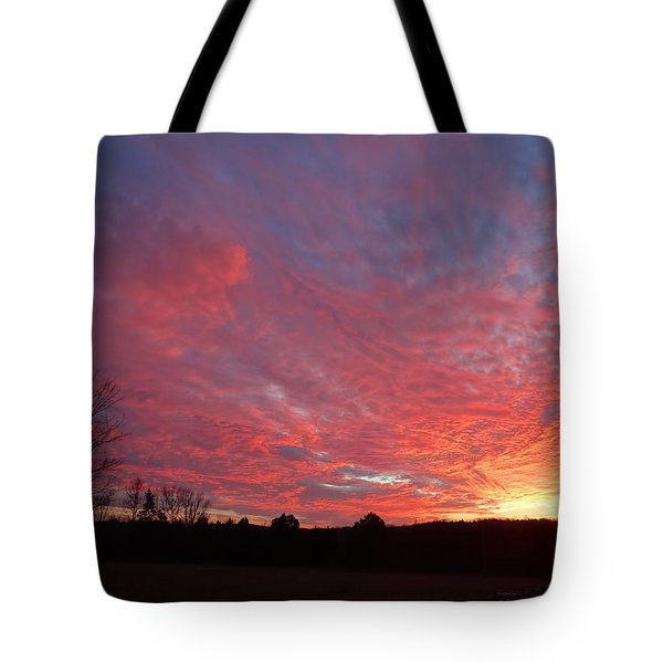 Tote Bag featuring the painting Lascassas Sunset One by Carol Berning