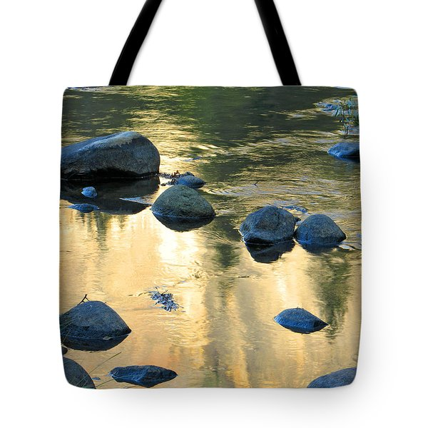 Late Afternoon Reflections In Merced River In Yosemite Valley Tote Bag by Greg Matchick