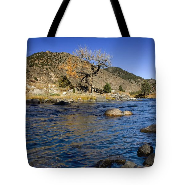 Late Autumn At The Arkansas Tote Bag by Ellen Heaverlo