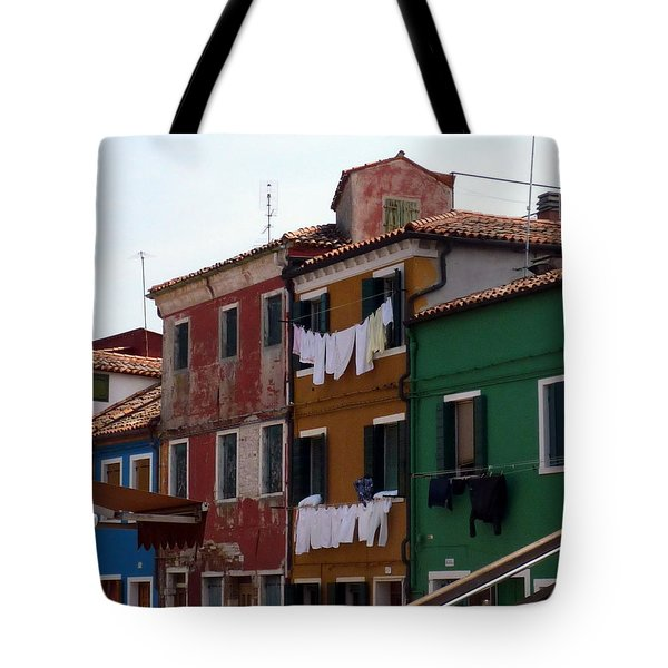 Laundry Day In Burano Tote Bag by Carla Parris