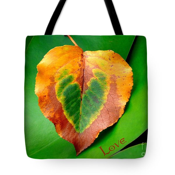 Leaf Leaf Heart Love Tote Bag by Renee Trenholm